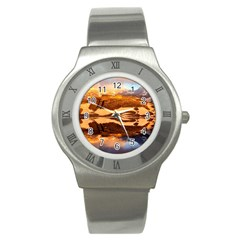 France Snow Winter Sunrise Fog Stainless Steel Watch
