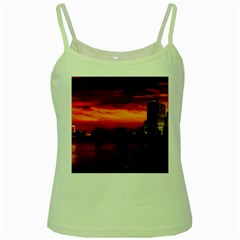 New York City Urban Skyline Harbor Green Spaghetti Tank