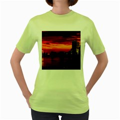 New York City Urban Skyline Harbor Women s Green T Shirt