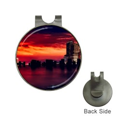 New York City Urban Skyline Harbor Hat Clips With Golf Markers