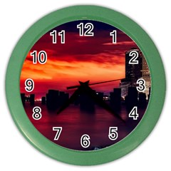 New York City Urban Skyline Harbor Color Wall Clocks