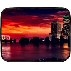 New York City Urban Skyline Harbor Fleece Blanket (mini)