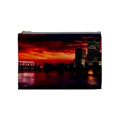 New York City Urban Skyline Harbor Cosmetic Bag (medium)