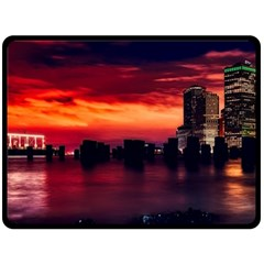 New York City Urban Skyline Harbor Double Sided Fleece Blanket (large)