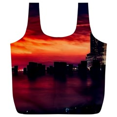 New York City Urban Skyline Harbor Full Print Recycle Bags (l)