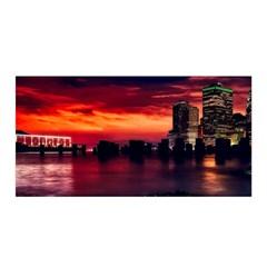 New York City Urban Skyline Harbor Satin Wrap