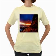 South Africa Sea Ocean Hdr Sky Women s Yellow T Shirt