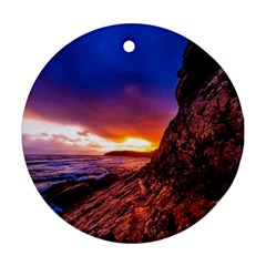 South Africa Sea Ocean Hdr Sky Round Ornament (two Sides)