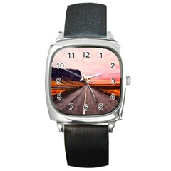 Iceland Sky Clouds Sunset Square Metal Watch