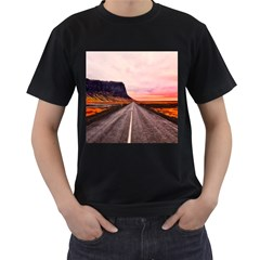 Iceland Sky Clouds Sunset Men s T Shirt (black) (two Sided)