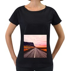 Iceland Sky Clouds Sunset Women s Loose Fit T Shirt (black)