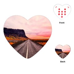 Iceland Sky Clouds Sunset Playing Cards (heart)