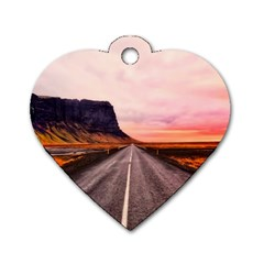 Iceland Sky Clouds Sunset Dog Tag Heart (two Sides)
