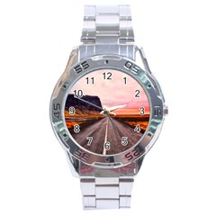 Iceland Sky Clouds Sunset Stainless Steel Analogue Watch