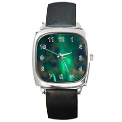 Northern Lights Plasma Sky Square Metal Watch