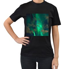 Northern Lights Plasma Sky Women s T Shirt (black) (two Sided)
