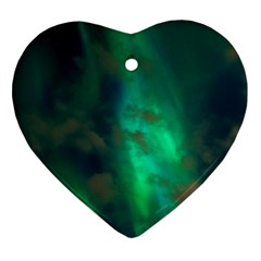 Northern Lights Plasma Sky Heart Ornament (two Sides)