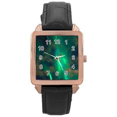 Northern Lights Plasma Sky Rose Gold Leather Watch