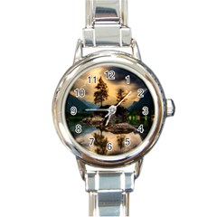Sunset Dusk Sky Clouds Lightning Round Italian Charm Watch