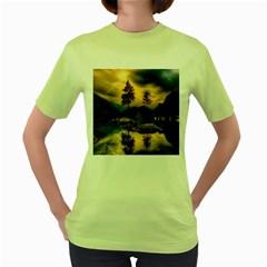Sunset Dusk Sky Clouds Lightning Women s Green T Shirt