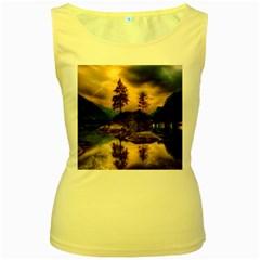 Sunset Dusk Sky Clouds Lightning Women s Yellow Tank Top