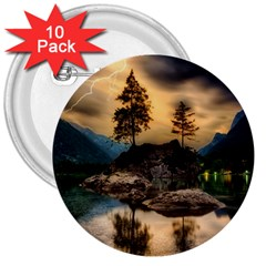 Sunset Dusk Sky Clouds Lightning 3  Buttons (10 Pack)
