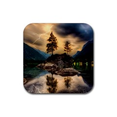 Sunset Dusk Sky Clouds Lightning Rubber Coaster (square)