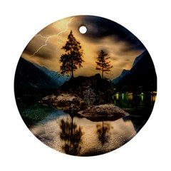 Sunset Dusk Sky Clouds Lightning Round Ornament (two Sides)