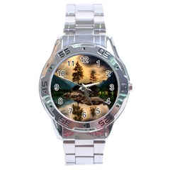 Sunset Dusk Sky Clouds Lightning Stainless Steel Analogue Watch