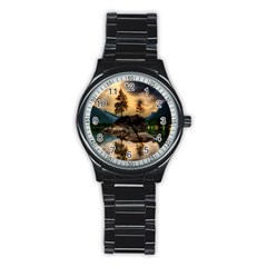Sunset Dusk Sky Clouds Lightning Stainless Steel Round Watch