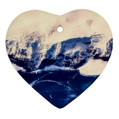 Antarctica Mountains Sunrise Snow Ornament (heart)