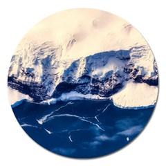 Antarctica Mountains Sunrise Snow Magnet 5  (round)