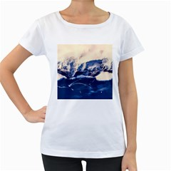 Antarctica Mountains Sunrise Snow Women s Loose Fit T Shirt (white)