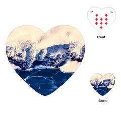 Antarctica Mountains Sunrise Snow Playing Cards (heart)