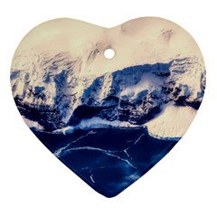 Antarctica Mountains Sunrise Snow Heart Ornament (two Sides)