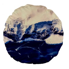 Antarctica Mountains Sunrise Snow Large 18  Premium Flano Round Cushions