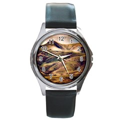 Iceland Mountains Sky Clouds Round Metal Watch
