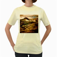 Iceland Mountains Sky Clouds Women s Yellow T Shirt