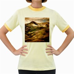 Iceland Mountains Sky Clouds Women s Fitted Ringer T Shirts