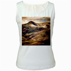 Iceland Mountains Sky Clouds Women s White Tank Top
