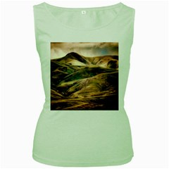 Iceland Mountains Sky Clouds Women s Green Tank Top