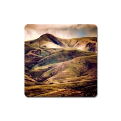 Iceland Mountains Sky Clouds Square Magnet