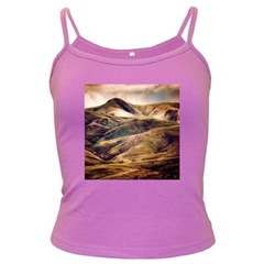Iceland Mountains Sky Clouds Dark Spaghetti Tank