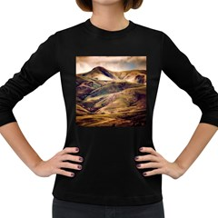Iceland Mountains Sky Clouds Women s Long Sleeve Dark T Shirts