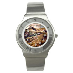 Iceland Mountains Sky Clouds Stainless Steel Watch