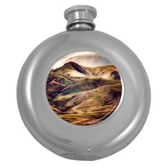 Iceland Mountains Sky Clouds Round Hip Flask (5 Oz)