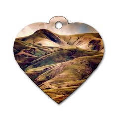 Iceland Mountains Sky Clouds Dog Tag Heart (one Side)