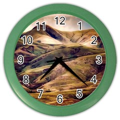 Iceland Mountains Sky Clouds Color Wall Clocks