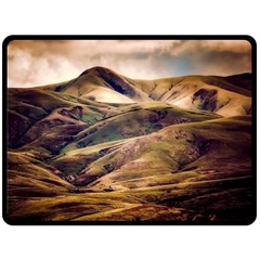 Iceland Mountains Sky Clouds Fleece Blanket (large)