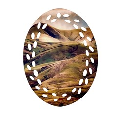Iceland Mountains Sky Clouds Oval Filigree Ornament (two Sides)